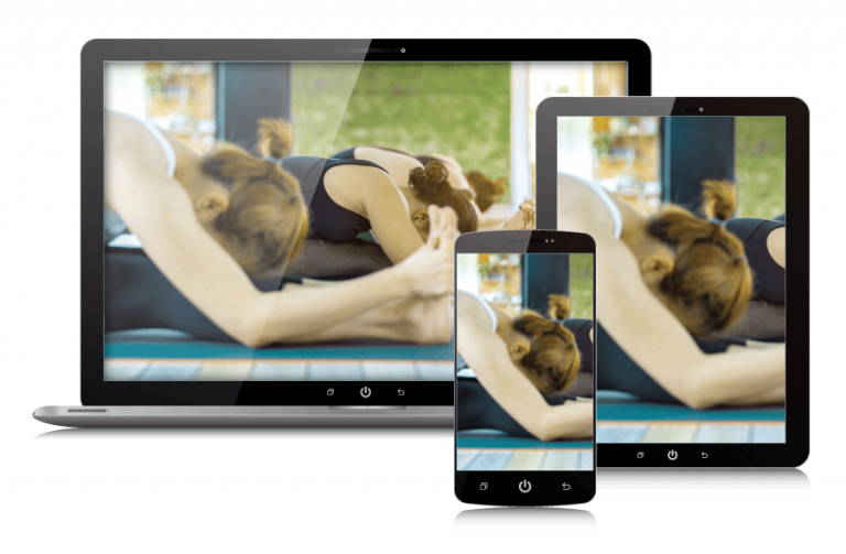 Yoga class on multiple devices.