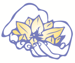 Glasgow School of Shiatsu logo. Hands holding lotus flower.